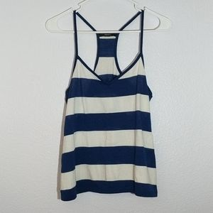 Forever 21 Navy and White Striped Tank Top